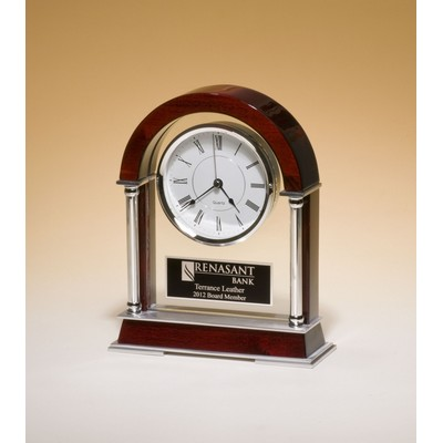 Rosewood Mantel Clock with Chrome Accents